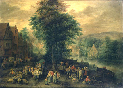 Wooded Landscape With Peasants, Waggons And Cattle_3 by Theobald Michau (1676-1765, Belgium)