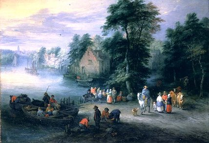 Wooded River Landscape With Figures And Cattle_2 by Theobald Michau (1676-1765, Belgium) | WahooArt.com
