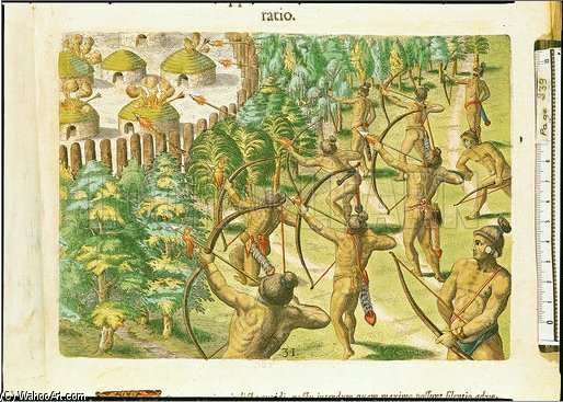 Attack On An Indian Village With Flaming Arrows by Theodore De Bry (1528-1598, Belgium)