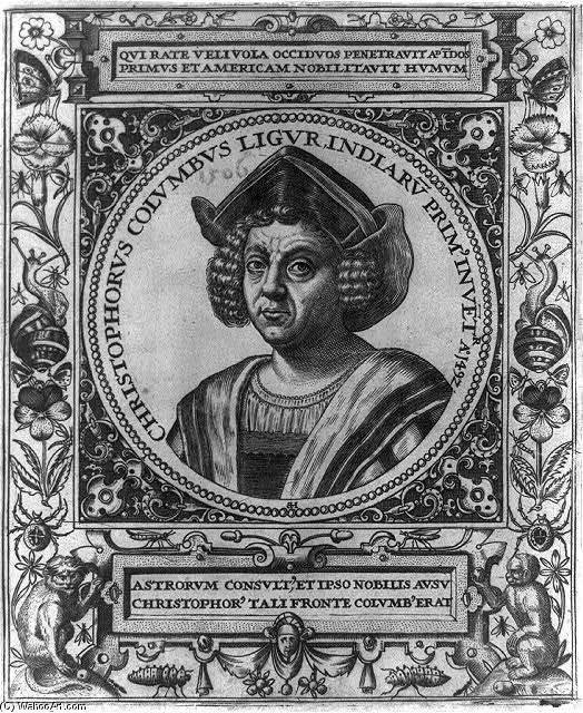Christopher Columbus Engraving by Theodore De Bry (1528-1598, Belgium)