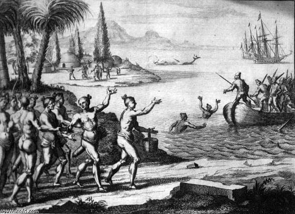 Lithograph Of The Timucua Greeting The French by Theodore De Bry (1528-1598, Belgium)