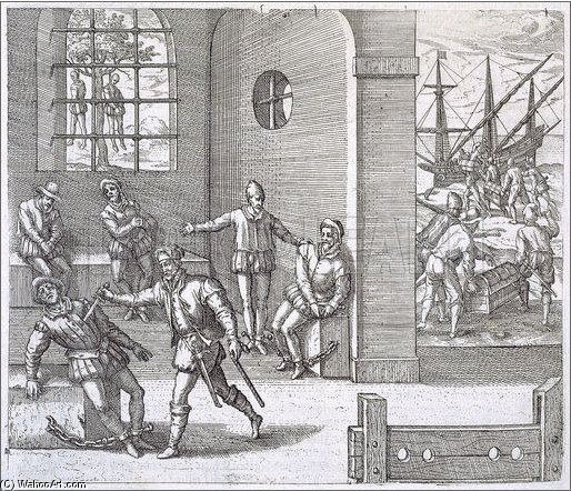 Spanish Traitors In Panama Executed While Gold Stolen From The by Theodore De Bry (1528-1598, Belgium)