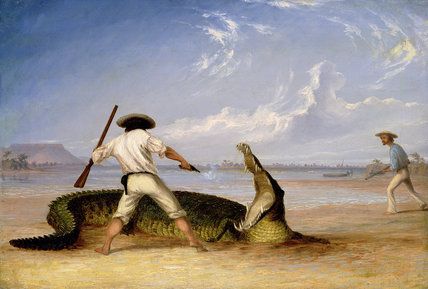 T.Baines And C.Humphrey Killing An Alligator by Thomas Baines (1820-1875, United Kingdom)
