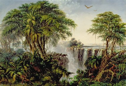 Victoria Falls With Stampeding Buffalo by Thomas Baines (1820-1875, United Kingdom)