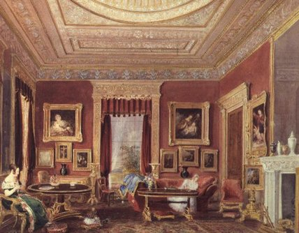 The Drawing Room, Leigh Court, Bristol by Thomas Charles Leeson Rowbotham (1782-1853, United Kingdom) | Oil Painting | WahooArt.com