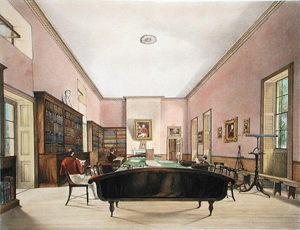 Order Paintings Reproductions | The Upper Room Of The Gibraltar Garrison Library by Thomas Colman Dibdin (1810-1893, United Kingdom) | WahooArt.com