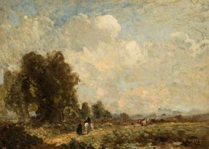 Thomas E Mostyn - Landscape With Figures On A Country Path