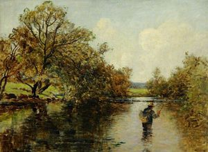 Thomas Edwin Mostyn - River Scene With A Fisherman