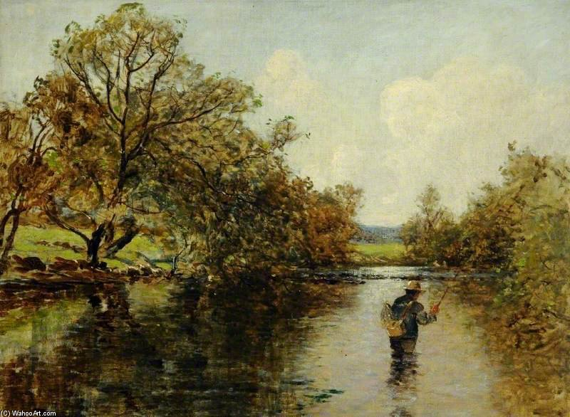 River Scene With A Fisherman by Thomas Edwin Mostyn | Oil Painting | WahooArt.com