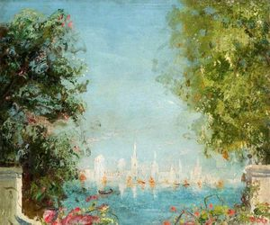 Thomas E Mostyn - View Across A Lagoon Towards A City