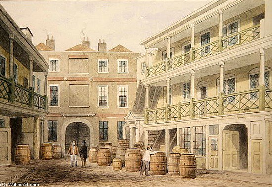 The Bell Inn, Aldersgate Street by Thomas Hosmer Shepherd (1792-1864, United Kingdom)