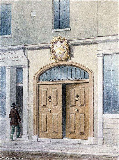 The Entrance To Coachmakers Hall by Thomas Hosmer Shepherd (1792-1864, United Kingdom)