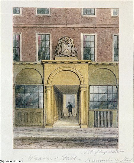 The Entrance To Weavers Hall by Thomas Hosmer Shepherd (1792-1864, United Kingdom)