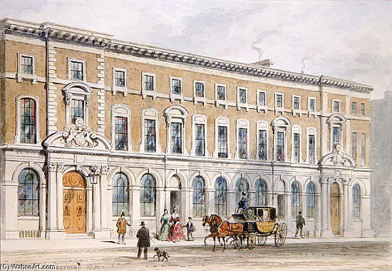 The New Building Of Merchant Taylors And Hall by Thomas Hosmer Shepherd (1792-1864, United Kingdom) | Painting Copy | WahooArt.com