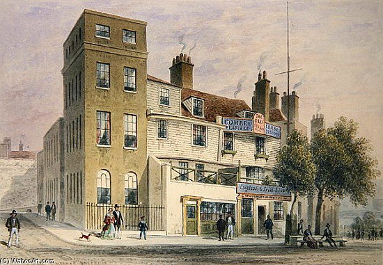 The Old George On Tower Hill by Thomas Hosmer Shepherd (1792-1864, United Kingdom) | Museum Quality Reproductions | WahooArt.com