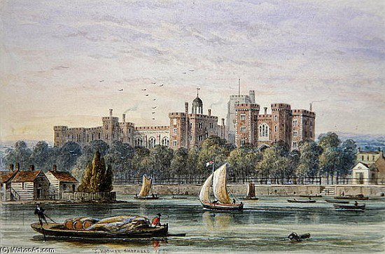 View Of Lambeth Palace From The Thames by Thomas Hosmer Shepherd (1792-1864, United Kingdom)