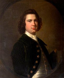 Thomas Hudson - Portrait Of An Unknown Young Man In A Bottle-green Jacket Holding A Tricorn Hat