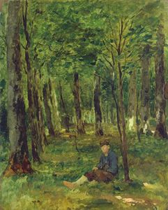 Thomas Ludwig Herbst - Young Farmer Sitting In The Forest