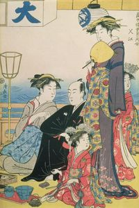 Torii Kiyonaga - Women Of The Gay Quarters, Right Hand Panel Of A