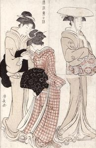 Torii Kiyonaga - Young Woman Wearing A Wide Straw Hat, Followed By A
