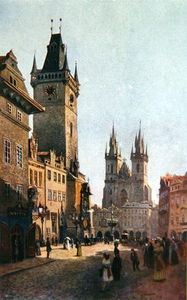Vaclav Jansa - View Of Staromestsky Rynk With The Town Hall And