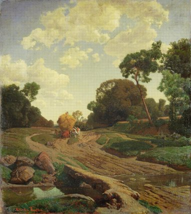 Order Museum Quality Reproductions : Landscape With Haywagon by Valentin Ruths (1825-1905, Germany) | WahooArt.com