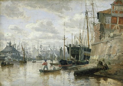The Log Cabin At Hamburg Harbour by Valentin Ruths (1825-1905, Germany) | Painting Copy | WahooArt.com