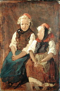 Order Oil Painting : Two Little Red Riding Hoods by Valentin Ruths (1825-1905, Germany) | WahooArt.com