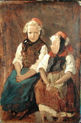 Two Little Red Riding Hoods by Valentin Ruths (1825-1905, Germany)