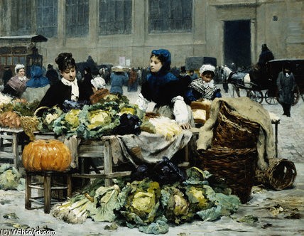 A Vegetable Stand by Victor Gabriel Gilbert (1847-1933, France)