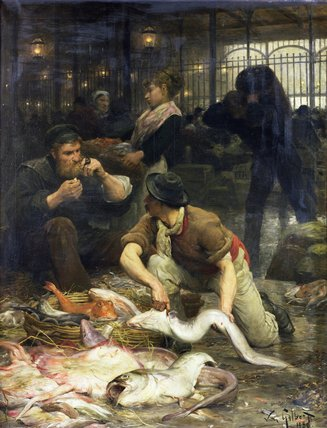 The Fish Market In The Morning by Victor Gabriel Gilbert (1847-1933, France)