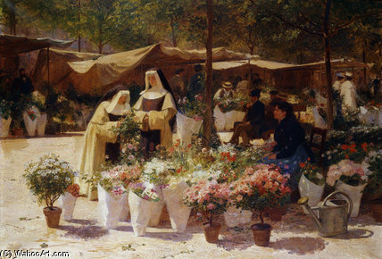 The Flower Market by Victor Gabriel Gilbert (1847-1933, France) | Painting Copy | WahooArt.com