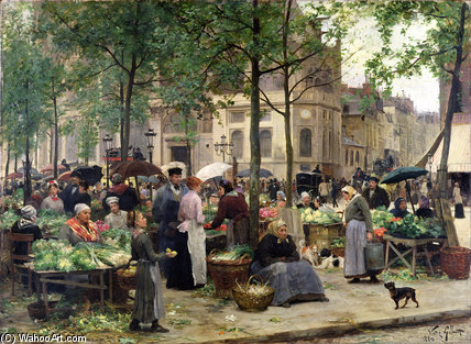 The Square In Front Of Les Halles by Victor Gabriel Gilbert (1847-1933, France)