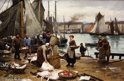 Unloading The Catch by Victor Gabriel Gilbert (1847-1933, France)