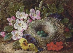 Vincent Clare - Apple Blossom, Pansies And A Bird's Nest With Eggs On A Mossy Bank