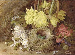 Vincent Clare - May Blossom, Violets, Primroses, Daffodils In A Wicker Basket, And Eggs In A Bird's Nest, On A Mossy Bank