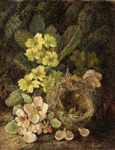Vincent Clare - Primroses And Bird's Nest On A Mossy Bank
