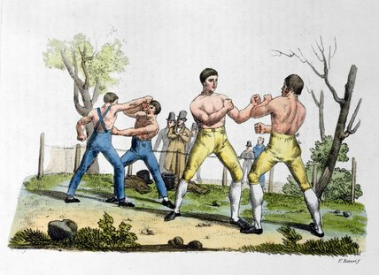 Boxing In England by Vittorio Raineri (1797-1869, Italy)