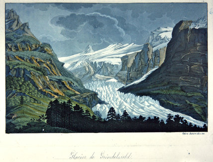 Glacier Of Grindelwald by Vittorio Raineri (1797-1869, Italy)