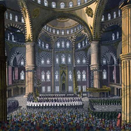 The Celebration Of The Festival Of Mewlod In The Mosque Of The Sultan Ahmed by Vittorio Raineri (1797-1869, Italy) | WahooArt.com
