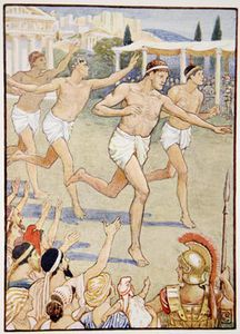 Walter Crane - In Earliest Times A Simple Foot-race Was The Only