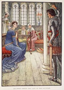 Walter Crane - Sir Owen Greets The Lady Of The Fountain