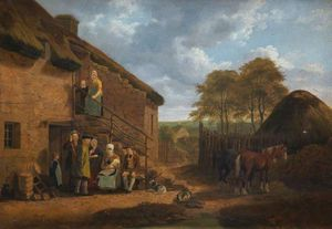 Order Oil Painting : Cottage Scene by Walter Geikie (1795-1837, United Kingdom) | WahooArt.com