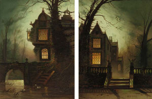 Wilfred Jenkins - A Moonlit House On A River; And A Moonlit House In A Wooded Landscape