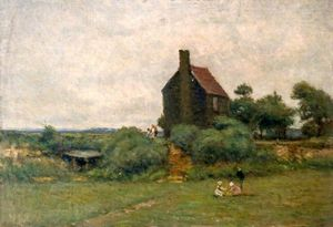 Wilfrid Williams Ball - Cottage With Children Picking Flowers -