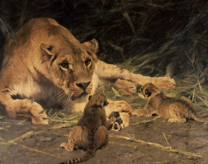 A Lioness And Her Cubs by Friedrich Wilhelm Kuhnert (1865-1926, Poland)