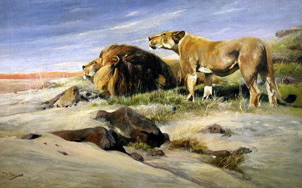Robbers Of The Desert by Friedrich Wilhelm Kuhnert (1865-1926, Poland)