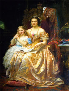 Wilhelm Von Kaulbach - Qeen Marie Of Hanover And Her Daughter Mary