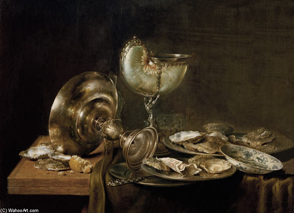Still-life With Nautilus Cup by Willem Claesz Heda (1594-1680, Netherlands)