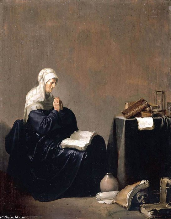 Buy Museum Art Reproductions | A Woman Praying by Willem De Poorter (1608-1668, Netherlands) | WahooArt.com
